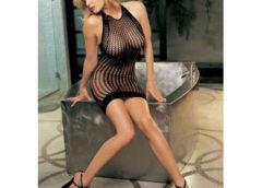 Stretch Honeycomb Fishnet Dress with Stretch Lace Hem