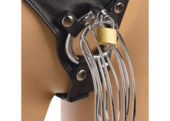 Strict Leather Male Chastity Device Harness