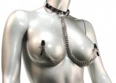 Chrome Slave Collar with Nipple Clamps - SmallMedium