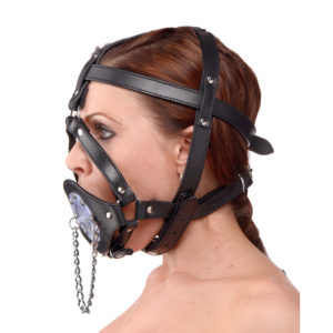 Plug It Up Leather Head Harness with Mouth Gag