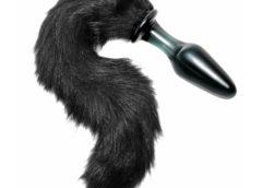 Midnight Fox Tail Glass Anal Plug