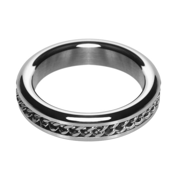 Metal Cock Ring with Chain Inlay- 1.75 In