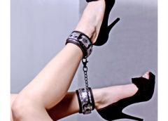 Platinum Bound Cuffed Embossed Metallic Ankle Cuffs