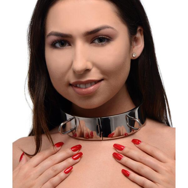 Stainless Steel Locking Bondage Collar- 5 Inch