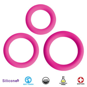 Love Ring Trio Silicone Cock Rings - Pink