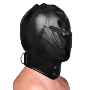 Bondage Hood with Posture Collar and Zippers