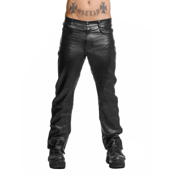 Police Leather Pants with Blue Stripe- 34 Inch Waist